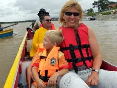 In een snel bootje op de Mekong rivier