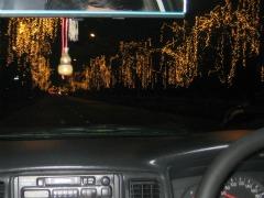 We rijden door verlicht Bangkok
