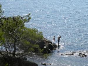 zwemmen tussen de rotsen