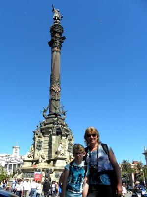 Bij het monument van Columbus aan het eind van Las Ramblas