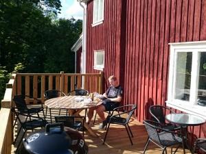De veranda van ons vakantiehuis Äksedal