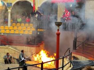 Vuur bij de Riddershow in Europapark