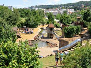 De water speelplaats bij het Park am Mäuseturm