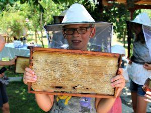 Zeb toont een bijenraat bij de bijen boerderij
