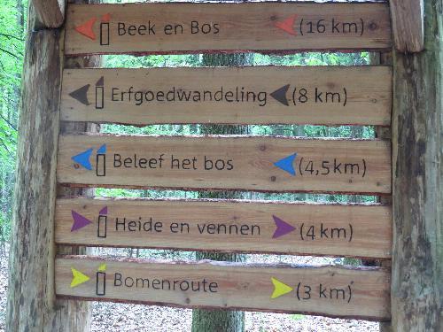 Bij de uitgang verschillende wandelroutes