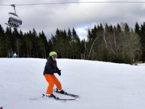 Zeb skiet van de berg in Willingen