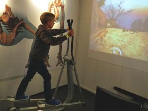 Tycho laat de dino op het scherm rennen bij Mons Klint