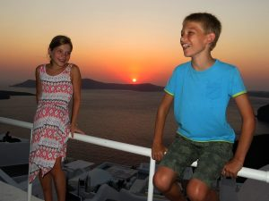 Zonsondergang in Fira, Santorini