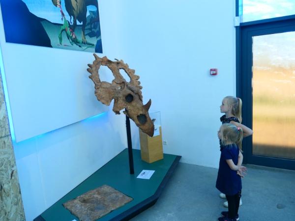 In het Geomuseum in Faxe kijken de kinderen naar een dinosaurus skelet