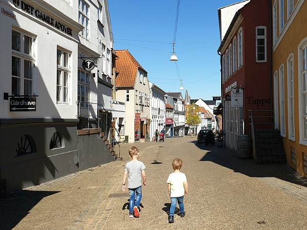 Kinderen wandelen door het dorpje Haderslev