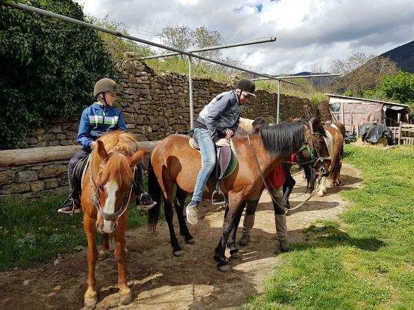 Zeb en Tycho zitten op het paard
