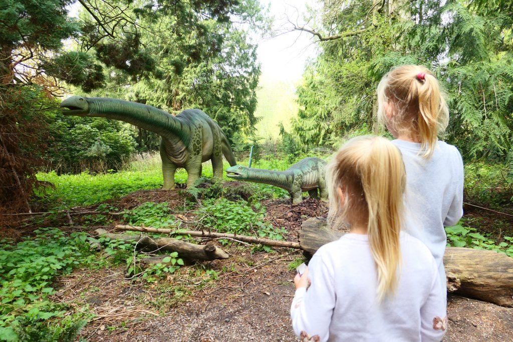 In het safaripark in Zuid-Seeland bekijken de kids de dinosaurussen