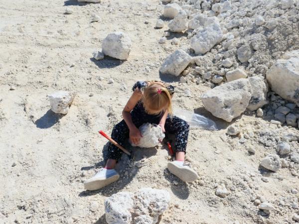 Sanne is fossielen aan het zoeken in Faxe