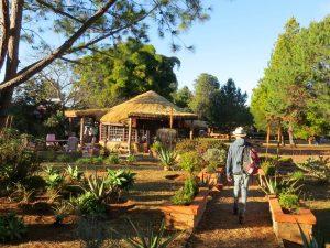 De tuin en restaurant bij Residence Madelief