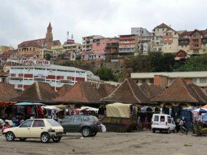 De markt gebouwtjes in Antananarivo